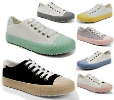 New Womens Girls Casual Flat Lace Up Sneakers Gym Pumps Running Walking Shoes Si