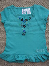 Guess Jeans 3 3T Swing Top Tee S/S Girls Aqua Embroidery Lace FREE Ship NWT