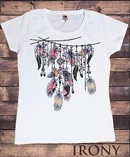 Women's White T-Shirt Tribal Red Indian Native American Feathers-Culture TS545