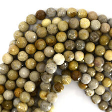 "Faceted Fossil Coral Round Beads Gemstone 15"" Strand 6mm 8mm 10mm 12mm"