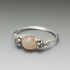 Peach Moonstone Bali Sterling Silver Wire Wrapped Bead Ring
