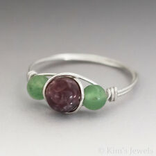 Lepidolite & Green Aventurine Sterling Silver Wire Wrapped Bead Ring