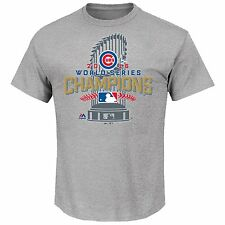 CHICAGO CUBS MLB WORLD SERIES CHAMPIONS AUTHENTIC LOCKER ROOM GRAY T-SHIRT