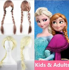 New Princess Elsa Anna Snow Queen Frozen Weaving Braid Cosplay Wig Kids AdultsMP