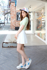 Women Mini Short Skirt Shorts Lady High Waist Plain Skater Flared Pleated