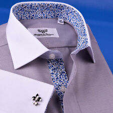 Gray Business Formal Floral Dress Shirt White Contrast Double Cuff Spread Collar