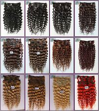 240g 12PCS Curly Weaving Deep Remy Clip In Real Human Hair Extensions Full Head