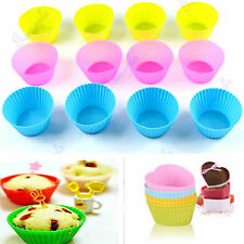 12Pcs Soft Silicone Round Chocolate Cake Muffin Cupcake Liner Baking Cup Mold