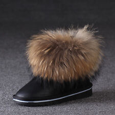 Womens Winter Warm Goose Down Ankle Snow Boots Waterproof Suede Flat Boots Shoes