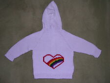NEW! Hand Knit Baby Rainbow pride Heart Sweater back zipper 6 or 12 month White