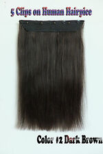 120g 5Clips One Hairpiece Remy Clip In 100%Real Human Hair Extensions Dark Brown