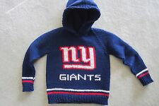 NEW! Hand Knit NFL NY Giants Baby Sweater back zipper 6 or 12 month Navy Hoodie