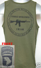 101ST AIRBORNE RANGER/ TANK TOP/ OD GREEN/ T-SHIRT/ MILITARY/ IRAQ COMBAT OPS