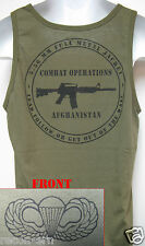 AIRBORNE od green TANK TOP T-SHIRT/ SKULL DOUBLE TAP/ / MILITARY/  NEW
