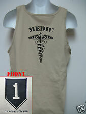 1st INFANTRY DIVISION tank top T-SHIRT/ 1ST ID/ MEDIC/ COMBAT/ TAN/ MILITARY