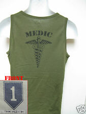 1ST INFANTRY DIVISION / 1ST ID/od green TANK TOP T-SHIRT/ MEDIC/ COMBAT/   NEW