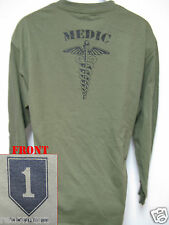 1st ID LONG SLEEVE ARMY T-SHIRT/ MEDIC/  COMBAT/ NEW/ MILITARY