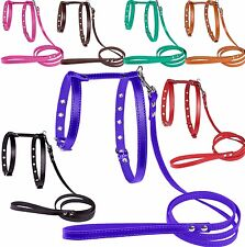 Leather Dog Harness Leash Set Small Medium Red Black Pink Brown Green