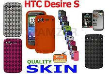 AMZER Silicone Skin Luxe Argyle Cover + xtra Case/ Screen Protector HTC Desire S
