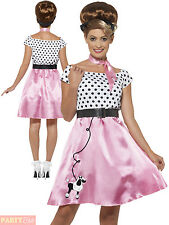 Ladies 50's Rock 'N' Roll Costume Adults 1950s Fancy Dress Womans Grease Outfit