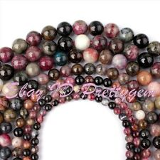 "Natural Tourmadline Round Multicolor Gemstone Beads Loose Strand 15"" 4,6,8,10mm"