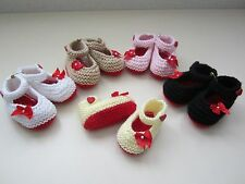 NEW! HandKnit Baby Louboutin-look Booties red soles 0-3, 3-6, or 6-9 months