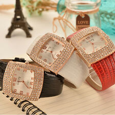 Fashion Rectangle Women Rhinestone Watch Quartz Faux Leather Casual Wristwatch
