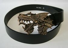 Gothic medieval LARP Leather belt with Belt buckle Dragon's head old copper