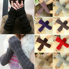 Winter Women Men's Gloves Arm Warmer Long Fingerless Knit Mitten Warm Glove Pair