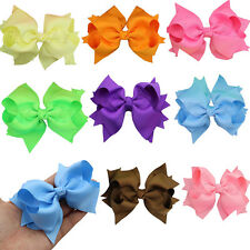 "1pcs 4.5"" Boutique Girl Baby Kids Grosgrain Spike Hair Bow Clips Hair Accessorie"