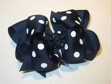 Black Polka Dots Boutique Hair Bow Girl Big Double Layer Hairbow Chucky 4 5 inch