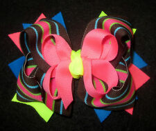 NEON Stripes Boutique Hair Bow 3 layers of Loops Spikes Funky Hairbow Party Girl