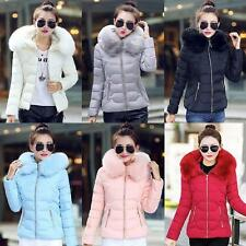Womens Winter Warm Down Cotton Parka Short Fur Collar Hooded Coat Quilted Jacket