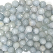 "Faceted Natural Blue Aquamarine Round Beads 15.5"" Strand 5mm 6mm 8mm 10mm"