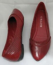 Women Spitz Flat Ballerina Ballet Dolly Pumps Ladies Flat  Shoes Red
