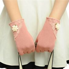 Womens Lace Gloves Winter Warm Wrist Gloves Ladies Touch Screen Mittens Cotton L