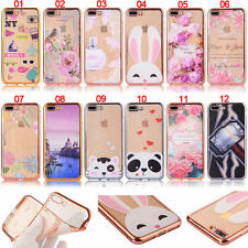 Panda Rabbit Cat Flowers Plated Edge Soft Tpu Skin Case Cover For iPhone Models