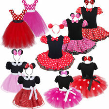 US Girls Kid Minnie Mouse Polka Dot Tutu Dress Up Party Fancy Costumes+Headband