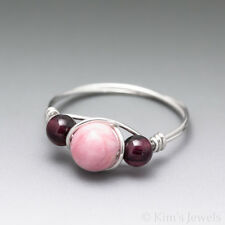 Rhodochrosite & Pyrope Garnet Sterling Silver Wire Wrapped Bead Ring