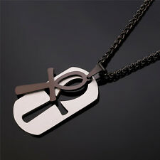 U7 Stainless Steel Dog Tag Egyptian Ankh Cross Key of Life Pendant Necklace
