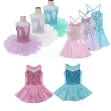 Kids Girls Sequined Princess Tutu Ballet Dance Skirt Leotard Dress Fancy Costume