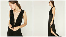 BNWT ZARA BLACK LONG FRINGED DRESS SIZE M