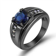 Unisex Size 8,9,10,11 Mens Blue Sapphire 18K Gold Filled Wedding Classic Rings