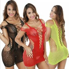 Sexy Womens Babydoll Lingerie Fishnet Hollow Out Bodycon Mini Dress Sleepwear