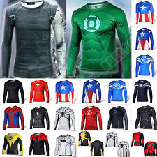 Mens Marvel Compression Costume Long Sleeve T-shirt Jersey Under Base Layer Tops