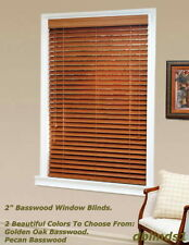 "2"" DELUXE REAL WOOD BLINDS 44 7/8"" WIDE x 37"" to 48"" LENGTHS - 2 WOOD COLORS"
