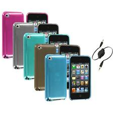 TPU Plain Rubber Jelly Skin Case Cover+Aux Cable for iPod Touch 4th Gen 4G 4