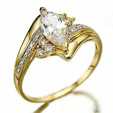 Oval Cut Gold Filled Ring Size 6-10  White Sapphire Women Wedding Rings Gift