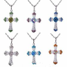 Lady Cross With Sweater Pendant Necklace Chain Silver Rhinestone Crystal  Gift