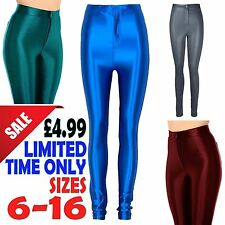 Ladies American Wet Look Shiny Disco Pants Womens High Waisted Leggings Trousers